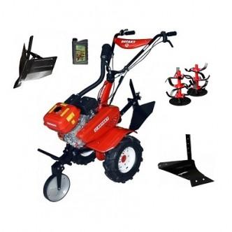 Motocultor Rotakt ROG80, 7 CP, carcasa transmisie fonta, roti cauciuc mari + plug de arat + rarita + Cadou ulei