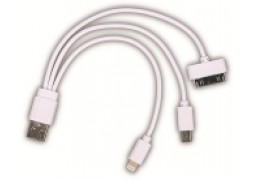 Cablu Date Micro + Lightning + 5 Pini 1A Alb