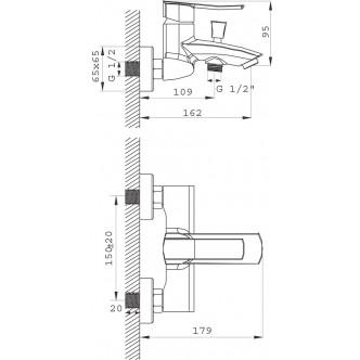 Baterie cada / dus perete Florence VerdeLine Ferro BFL1VL