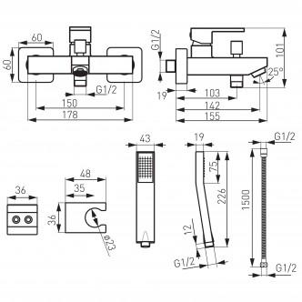Baterie perete cada / dus Ferro Zicco BZI11