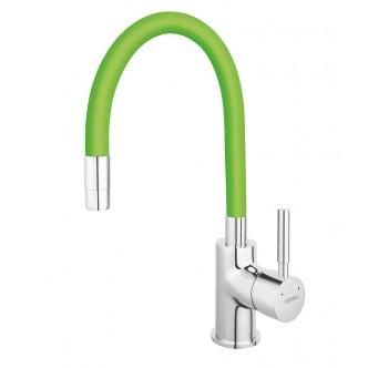 Baterie stativa bucatarie cu pipa flexibila, verde Zumba Ferro