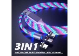 Cablu de date si incarcare cu flux luminos 3 in 1 cu capete magnetice Tip C, Micro usb si pentru Iphone
