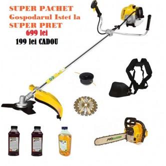 Super Pachet Gospodarul Istet, Motocoasa + Drujba Bonus accesorii si uleiuri
