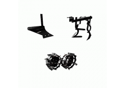 Pachet accesorii motocultor, Plug arat + Cultivator + Roti metalice