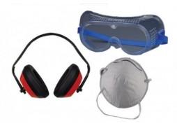 Set ochelari de protectie cu banda elastica. masca si casti antifon